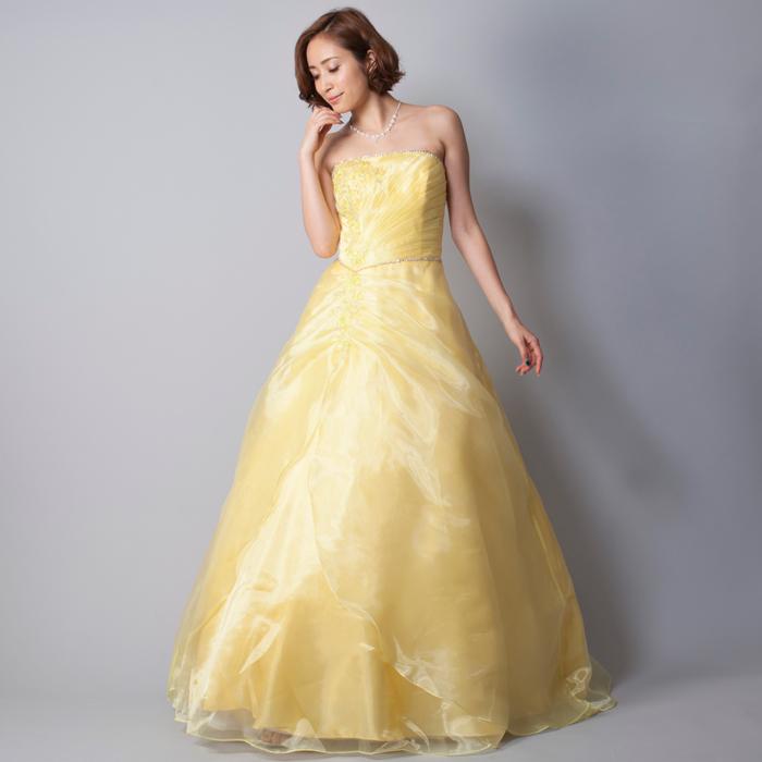 夏のイベント、二次会などにはイエローカラーのドレス