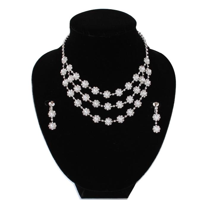 ドレスの美しさを引き立てる!ラインストーン ゴージャス ネックレスとイヤリングのセット