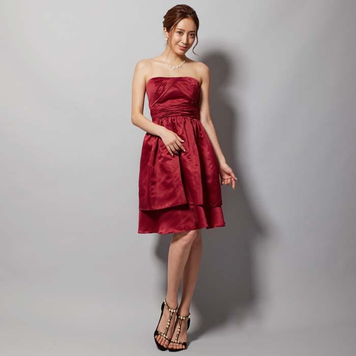 ワインレッドカラーの結婚式のお呼ばれドレスにオススメなショートドレス