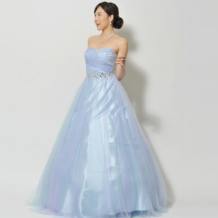 爽やかなスカイブルーカラーのステージやウェディングにオススメなロングドレス