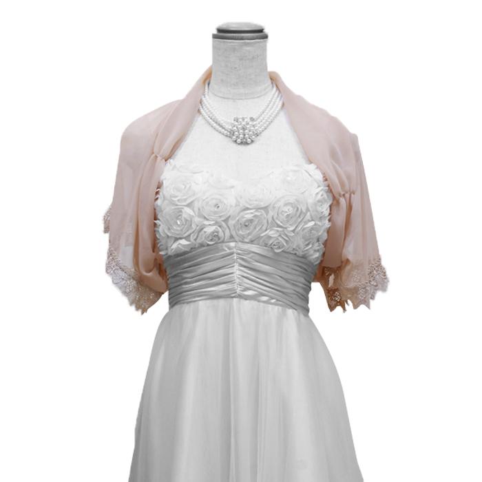 パーティーや結婚式二次会に最適な袖口に刺繍の付いたベージュカラーボレロ