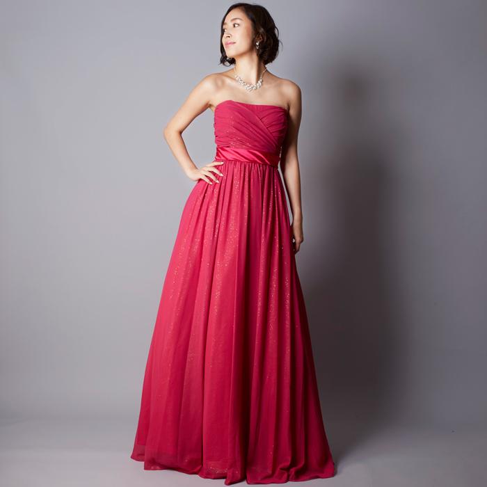 演奏会ドレスとして人気の高いフーシャカラーのスレンダーなロングドレス