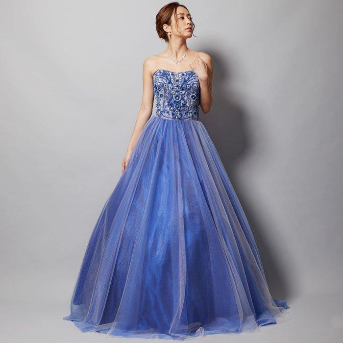 エキゾチックなビジュー刺繍レースボリュームロングドレス