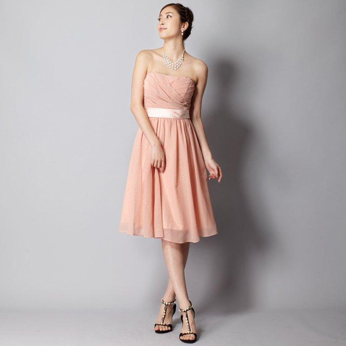 エレガントなベージュピンクゴールドグリッターシフォン膝丈ミディアムドレス