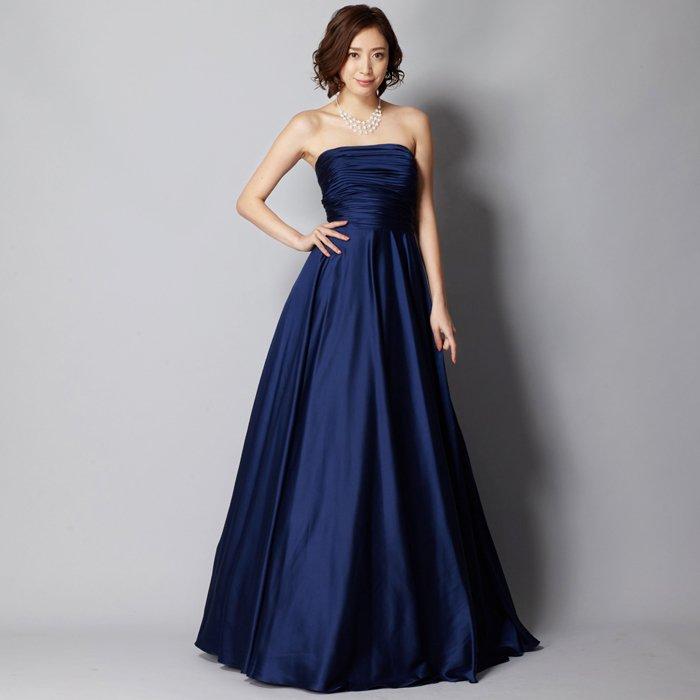 サテンネイビー艶やかエレガントロングドレス