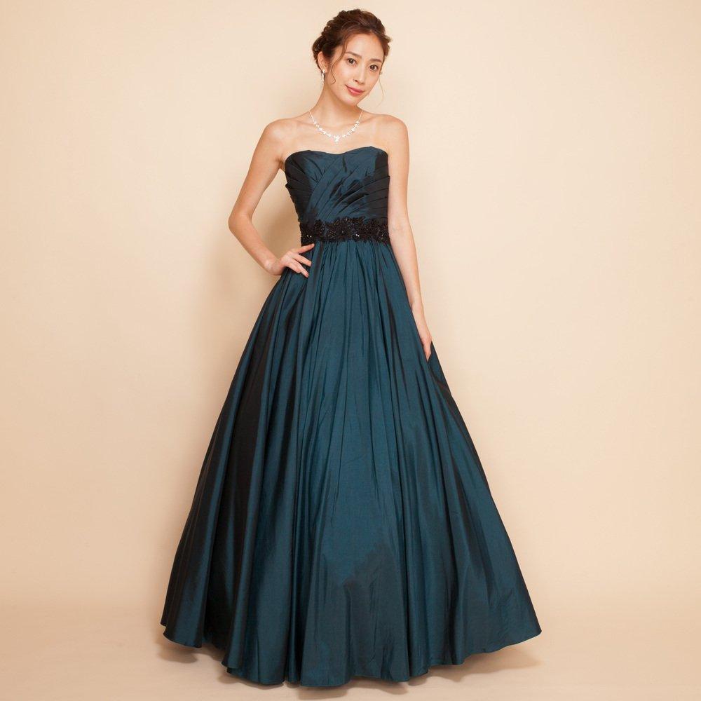 ディープグリーンで凛とした印象にタフタブラックレースベルトロングドレス