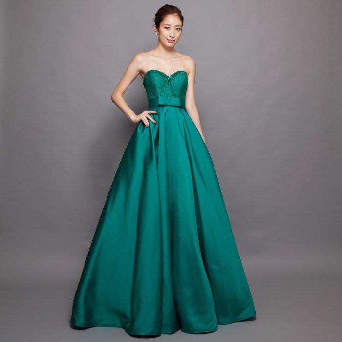 美しい孔雀のようなエメラルドグリーン厚めサテンビーズ刺繍ボリュームロングドレス