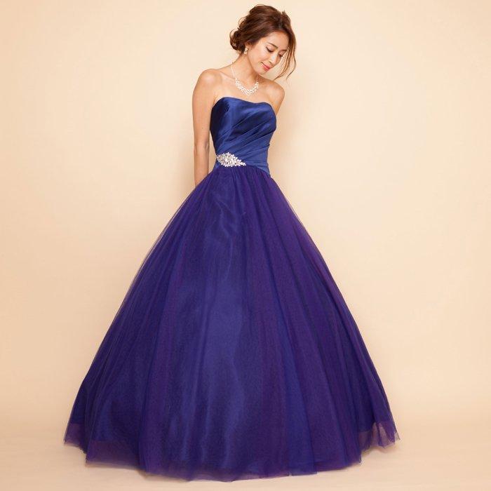 3色チュールオーロラグラデーションブルーサテンボリュームロングドレス