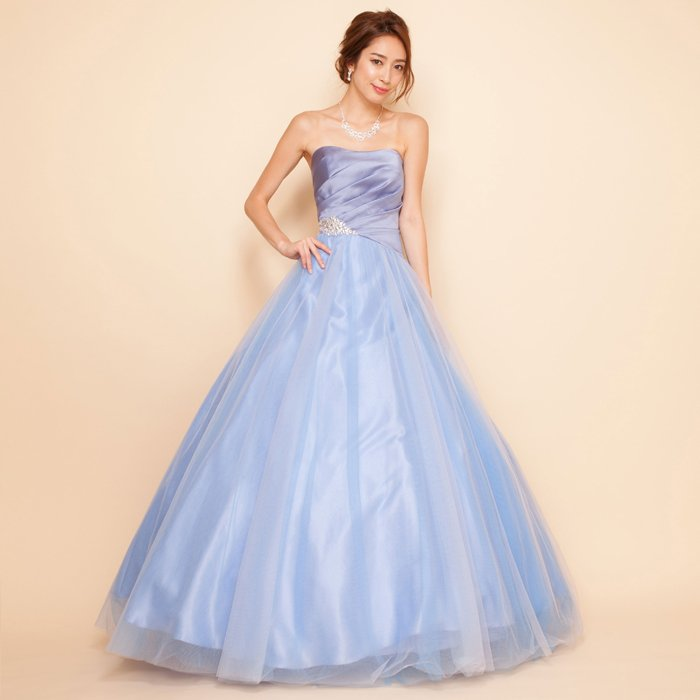 3色チュールオーロラグラデーショングレーブルーサテンボリュームロングドレス