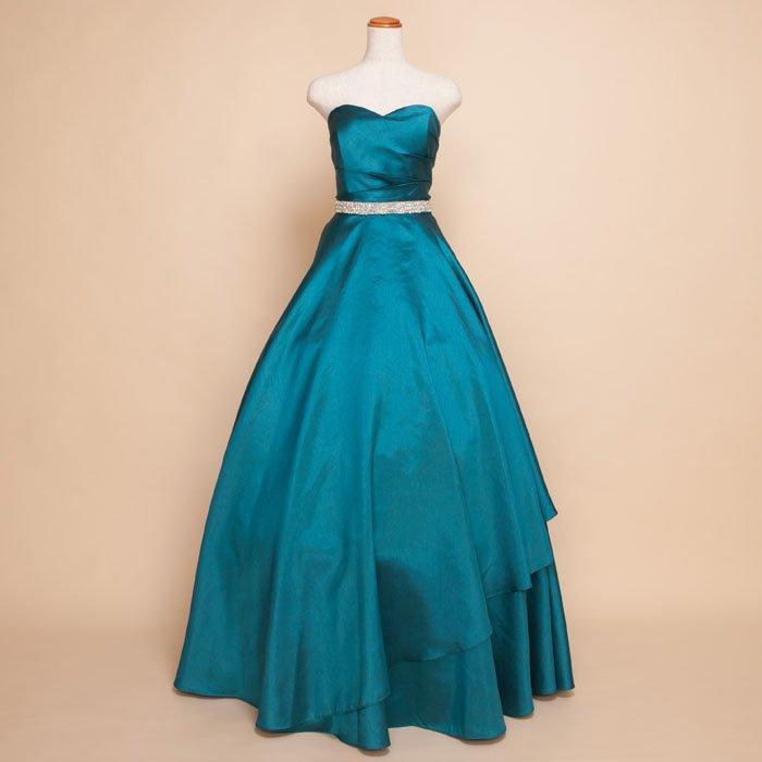 清潔感あふれるエメラルドグリーンシルクシャンタンウエストビジューロングドレス
