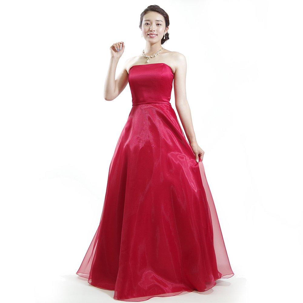 美しい光沢感で情熱的なレッドカラーオーガンジーの演奏会ドレス