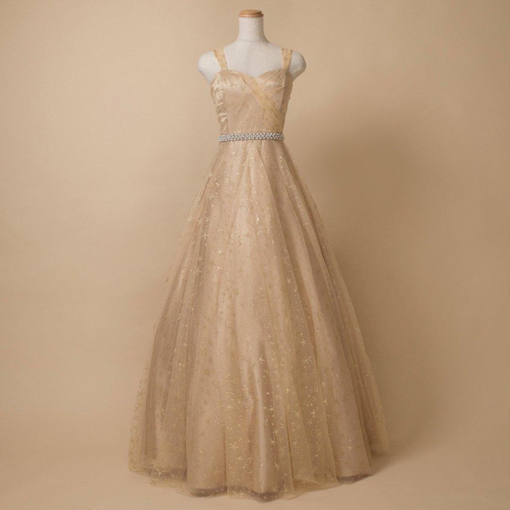 シャンパンゴールドのスターグリッターで結婚式に着こなしたいボリュームチュールドレス