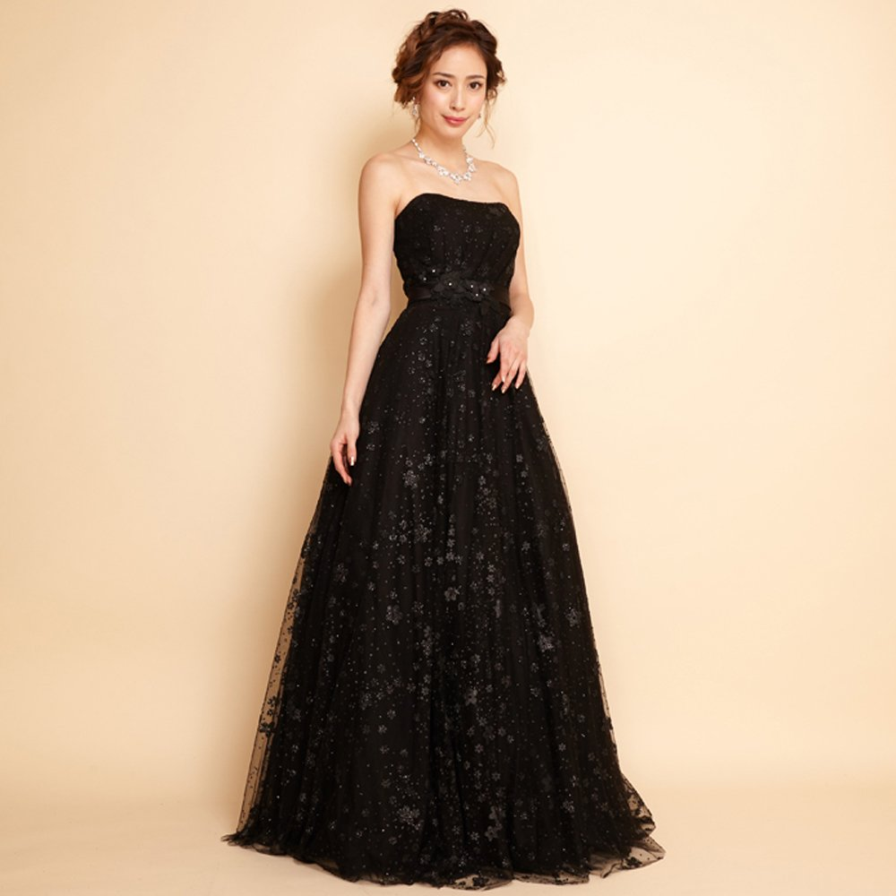 ブラックフラワーモチーフのエレガントな雰囲気の演奏会ロングドレス