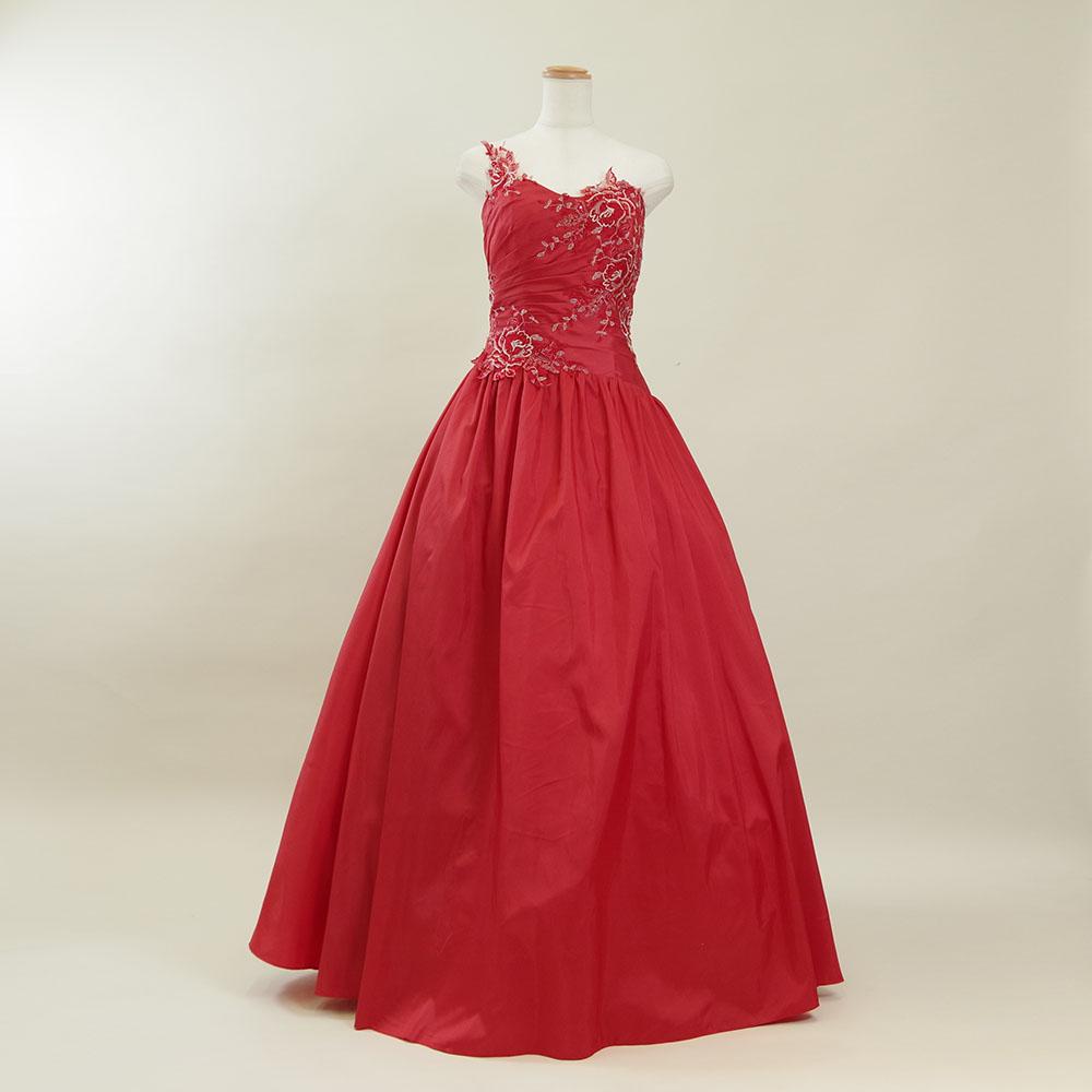 情熱的で煌びやかなレッドカラーのスタイリッシュワンショルダーロングドレス