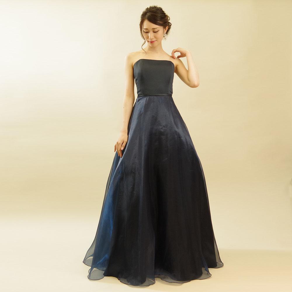 室内楽やコンクールに使いやすいドレス初心者向けのネイビーオーガンジードレス