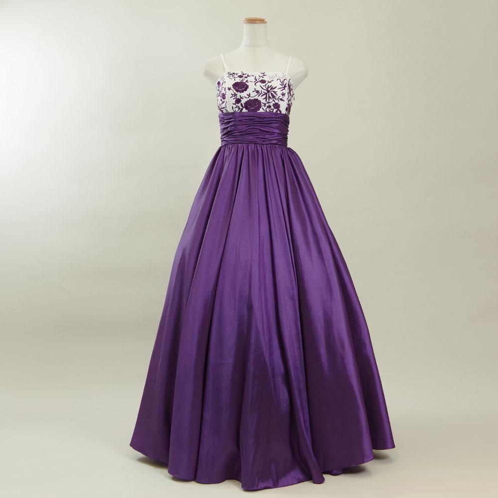 フラワーの刺繍とパープルカラーが絶妙バランスの演奏会向けタフタボリュームドレス