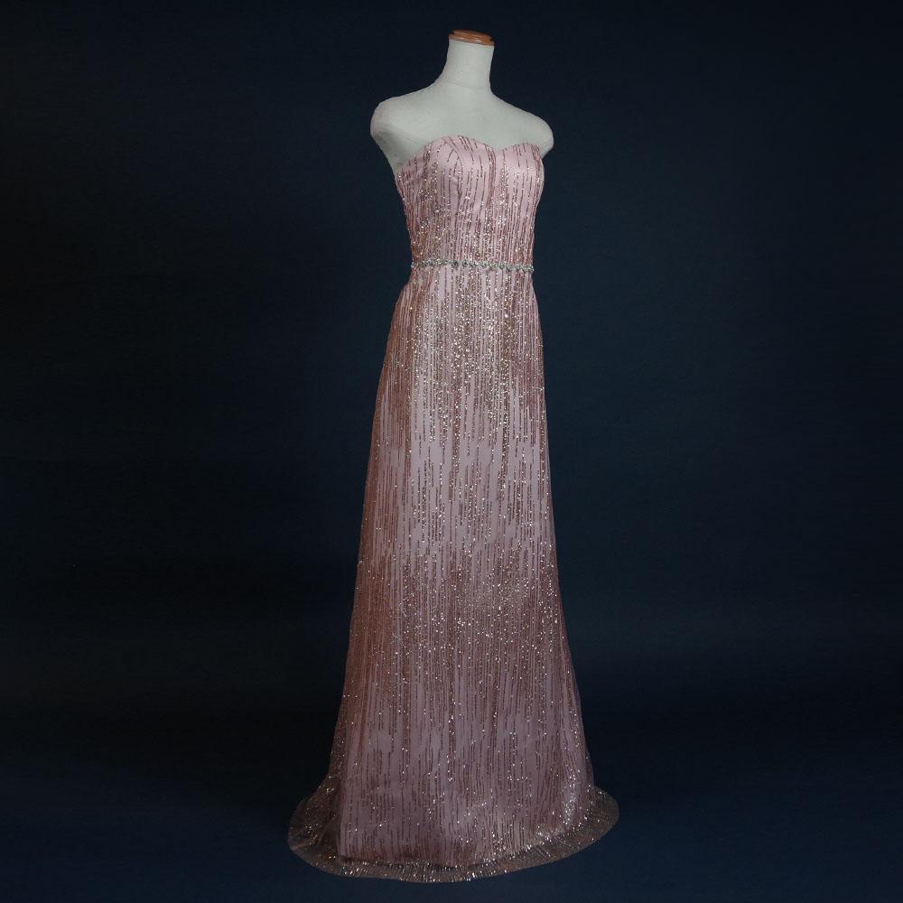 ピンクゴールドの高級感あふれるゴージャスエレガントロングドレス