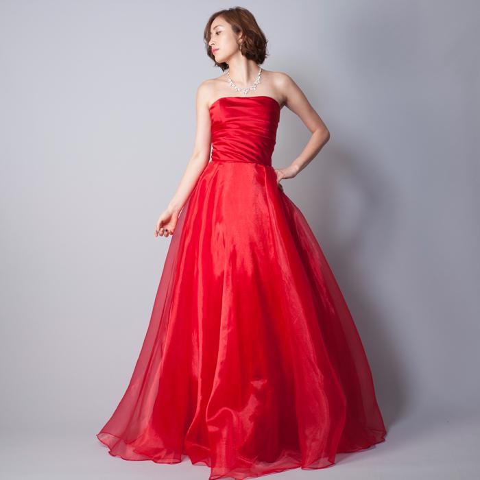 結婚式の二次会衣装などにお勧めな、ハッキリとした赤が美しい鮮やかなレッドカラーのカラードレス