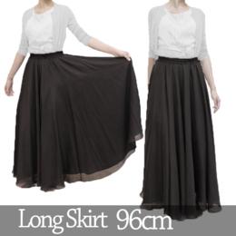 第九、混声合唱にお勧めの黒(ブラック)のスレンダーなフレアーロングスカート【96cm丈】