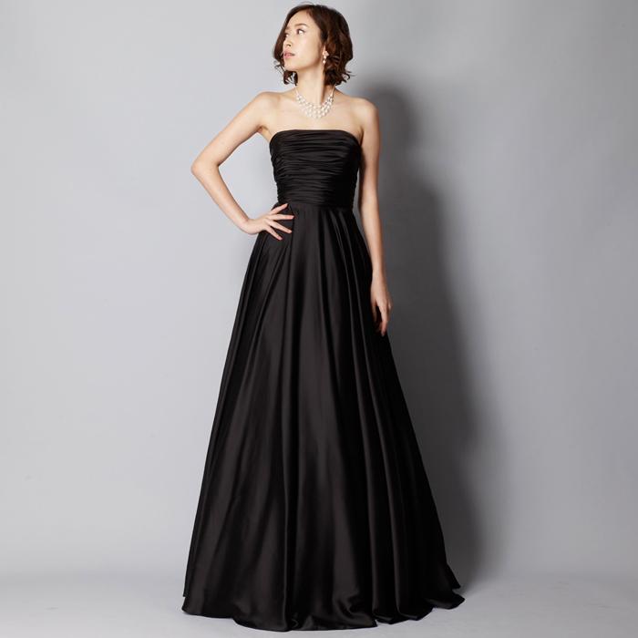 オーケストラ、伴奏に最適なブラックカラーのシンプルなロングドレス