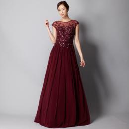 2way肩つきチュールビーズ装飾ワインロングドレス