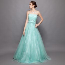 スパンコールを散りばめたレースをドレス全体に使用したミントレースロングドレス