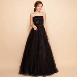 クラシックで上品にスパンコールレースブラックボリュームロングドレス