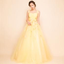 フラワー刺繍プリンセスボリュームチュールイエローロングドレス