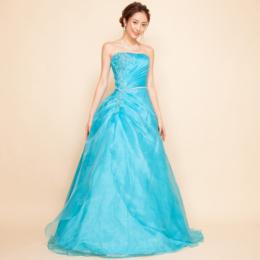 オーガンジービーズ刺繍ターコイズブルーロングドレス
